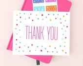Confetti Thank You Note | Polka Dot Thanks Greeting Card | Pink + Purple | Box Set or Single | BEST SELLER!