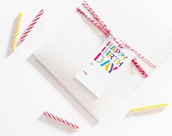 Birthday Gift Tags | Birth Day Stencil with Baker's Twine | Set of 8