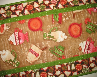 Christmas Table Runner, Christmas Cookies and Hot Cider,  quilted. fabric from Wilmington Prints