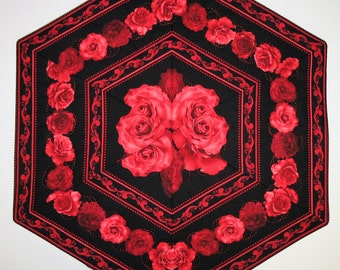 Roses Table Topper, Roses, Love, Romance, quilted, fabric from Timeless Treasures