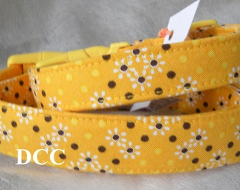 Dog Collar Golden Yellow With Black Dots White Flowers Adjustable Dog Collar w D Ring Choose Size Accessories Accessory Pets Floral Everyday