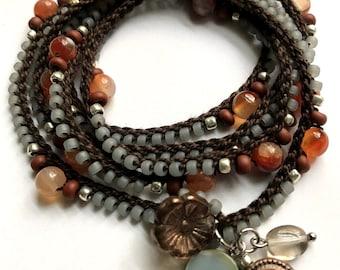 """Crochet wrap bracelet / necklace, beaded, """"dark flower"""", silver, brown, bohemian jewelry, crochet jewelry, fall, gift for her, coffycrochet"""