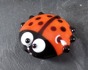 LadyBug Orange, Handmade Lampwork Glass Bead, appx 25mm two-sided