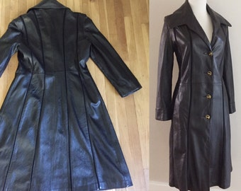 Vintage 1960s 1970s BLACK Leather Spy Jacket Swing Trench Coat with Oversized Collar