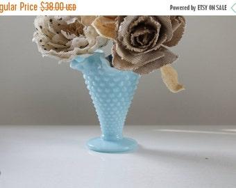SHOP SALE Vintage Fenton Aqua Blue Turquoise Hobnail Trumpet Vase