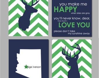 Deer Nursery Decor, Baby Boy Nursery Art, Boy Nursery Prints, Navy Nursery Decor, Arizona Art,  Chevron Nursery, Wall Art For Boys Room