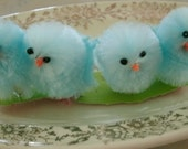 "6 BLUE CHENILLE CHICKS fluffy fuzzy 1 1/2"" easter decoration"
