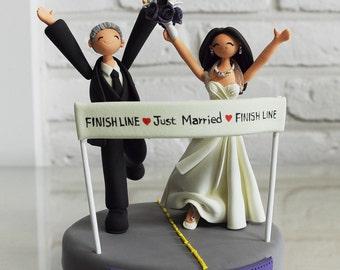 Marathoner couple custom weddng cake topper keepsake gift