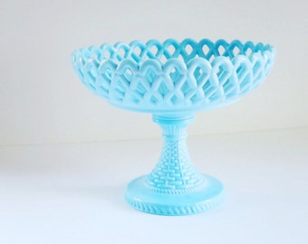 Vintage Turquoise Milk Glass Cake Stand, Opaque Blue Glass Cup Cake Pedestal Plate, Challinor Taylor Basket Weave Pedstal Compote