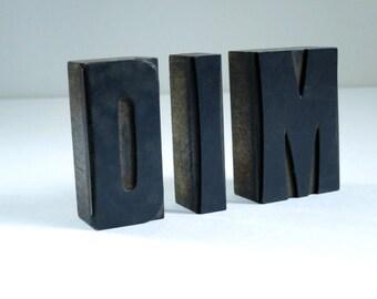 Vintage Letterpress Letter Blocks, Large 2.5 inch Letter Press Print Stamps, Type Face Blocks, D I M Letter Stamp Block, Office Desk Decor