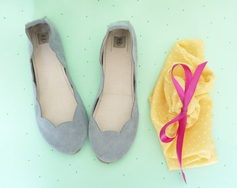 Cool Dusty Gray Grey Soft Suede Scalloped Handmade Ballet Flats Serenity Pantone Color of the Year 2016