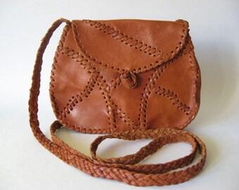 Dark tan leather patchwork stitched purse crossbody festival  bag braided strap vintage souvenir