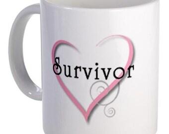 PINK RIBBON Survivor Breast Cancer Awareness Collection 11oz Ceramic Coffee Cup Mug
