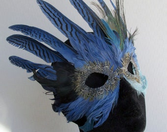 Mardi Gras Crowned Feather Mask in Blues