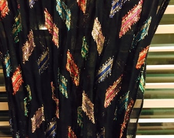 Long sparkly scarf geometric print/multicolored on black