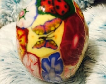 Milliefiore stained-glass butterfly ladybug design egg candle unusual rare htf  70s new without tags/wrapped in cellophane