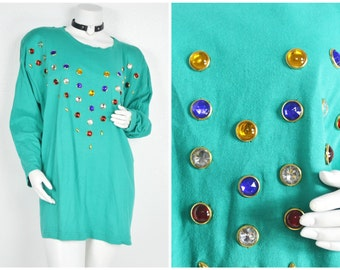 90s 80s batwing sleeve multicolored rainbow studs sequins teal blue green long sleeve shirt dress tunic