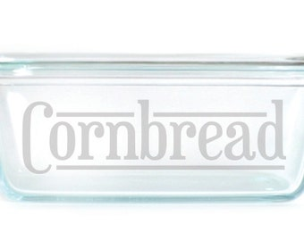 Engraved Bread Loaf Pan with Handles 1.5Qt baking dish 2309 Cornbread