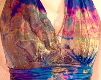 blue pink gold silk halter dress boho chic tie dye dress beach wedding gown