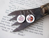 Tin Earrings, Black and Red Mixed Metal Discs, Recycled Tin, Soy Sauce Tin, Sterling Ear Wires