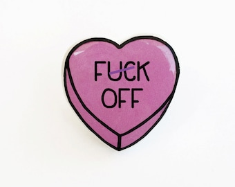 F-ck Off - Anti Conversation Pink Heart Pin Brooch Badge