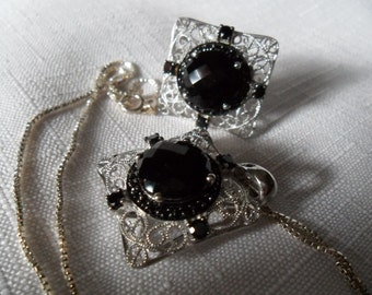 Vintage Sterling Silver Black Onyx and Black Spinel Jewelry Set