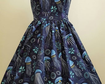 Hand made full skirt strappy  vintage style dress in jellyfish print
