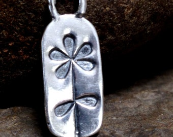 Sterling Silver Flower Charm -  Boho Flower Charms -  Rectangle Charms with Flower Stamp  - AP58