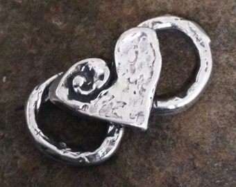 NEW Chunky Artisan Heart Connector - 1 Large Sterling Silver - Figure 8 Links 20.9mm  AC7