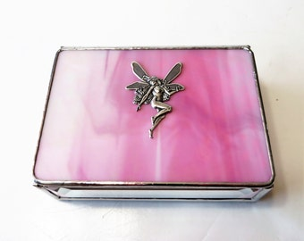 Stained Glass Fairy Box Pink Iridescent 3x4x1 Tooth Fairy Box Handmade Graduation Gift