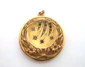 Antique Art Nouveau Gold Filled Locket Shooting Stars Lily Flower Repousse Details
