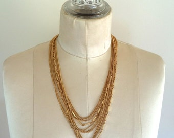 Vintage Multi Gold Tone Chain Necklace