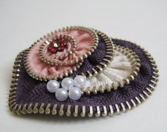 Pink Heart Zipper Brooch Pin