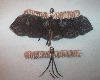Champagne Satin /  Chocolate Brown Lace - 2 Piece Wedding Garter Set - 1 To Keep / 1 To Throw