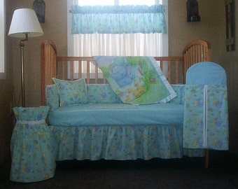 10 Piece Little Pond With Light Blue And White Accent Trim Baby Quilt Set, Nursery Set