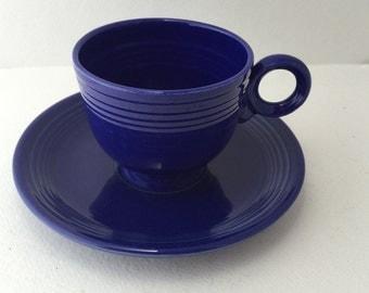 Fiesta Cup & Saucer Cobalt Blue Ring Handle Homer Laughlin Vintage Fiesta-ware Dishes