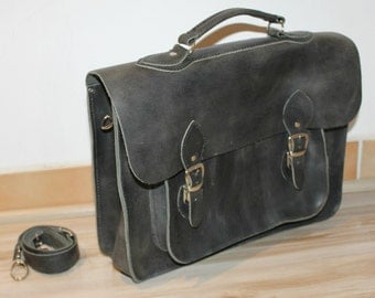 Leather Messenger mens/17 '' laptop bag! Leather briefcase!