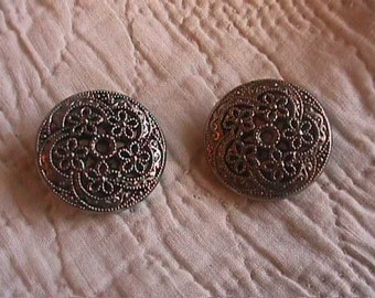SALE--Vintage Silver Color Pierced Floral Button, with Twinkle Backing, Pair