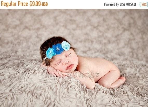 10% off SALE Baby headband, newborn headband, adult headband, child headband and photography prop The triple sprinkled- Sparkle flowers head