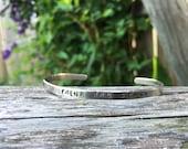 "Custom hand stamped bracelet cuff - 1/8"" x 6"" 16g nickel"