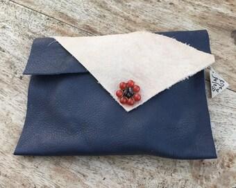 Blue leather bag,  beige leather bag, tabacco pouch, Blue purse, Single pocket purse , Wallet case, Purse insert, Envelope wallet, for her