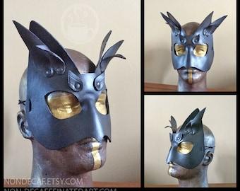 Black Leather Cat Mask with horns - Handmade Warrior Costume Fantasy Renaissance Festival Masquerade
