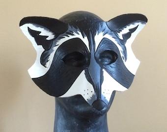 The Racoon - Handmade 8oz. Leather Mask - animal costume creature cosplay nature elf renissance larp
