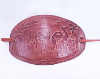 60's Leather Hippie Hair Holder Camel Desert Scene Vintage
