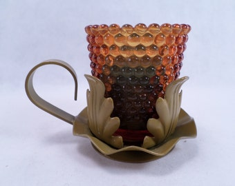 70's Chamberstick Candle/Votive Holder Retro Colonial Style Vintage
