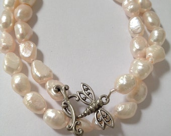 Freshwater Pearl, Dragonfly Necklace Pink Pearl Whimsical Pearl Necklace Pearl Jewellery