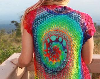 Tie Dye Crochet tank/ swim coverup vest with fringe