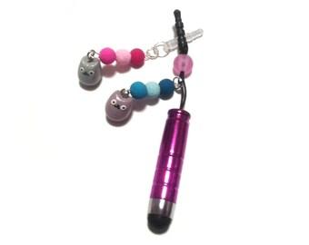Kawaii Polymer Clay Kitty Stylus Pen / Dust Stopper