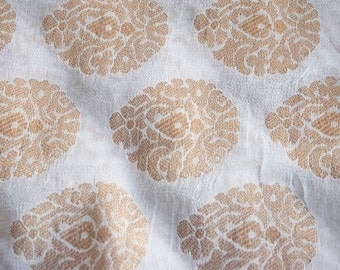 Paisley White - 1 yard of Chiffon Brocade Fabric in White and Gold