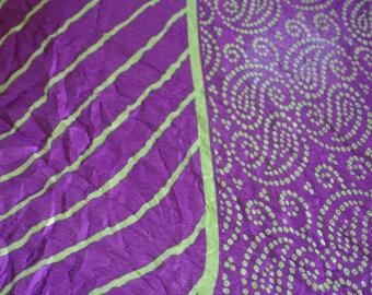 Purple paisleys and tie dyed waves  - Vintage Silk & Zari Sari (5 m / 6 yds)